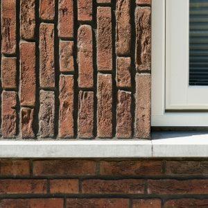 Close Up Van Een Het Metselwerk En Materiaalgebruik.