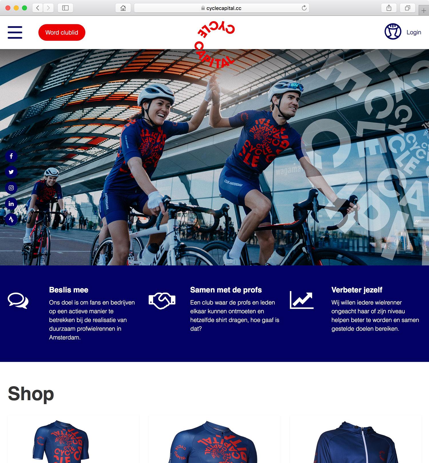 Startpagina van de Amsterdamse wielerclub Cycle Capital