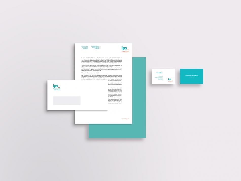 Multifunctioneel briefpapier, dubbelzijdig visitekaartje en een EA5/6 envelop voor IPS software