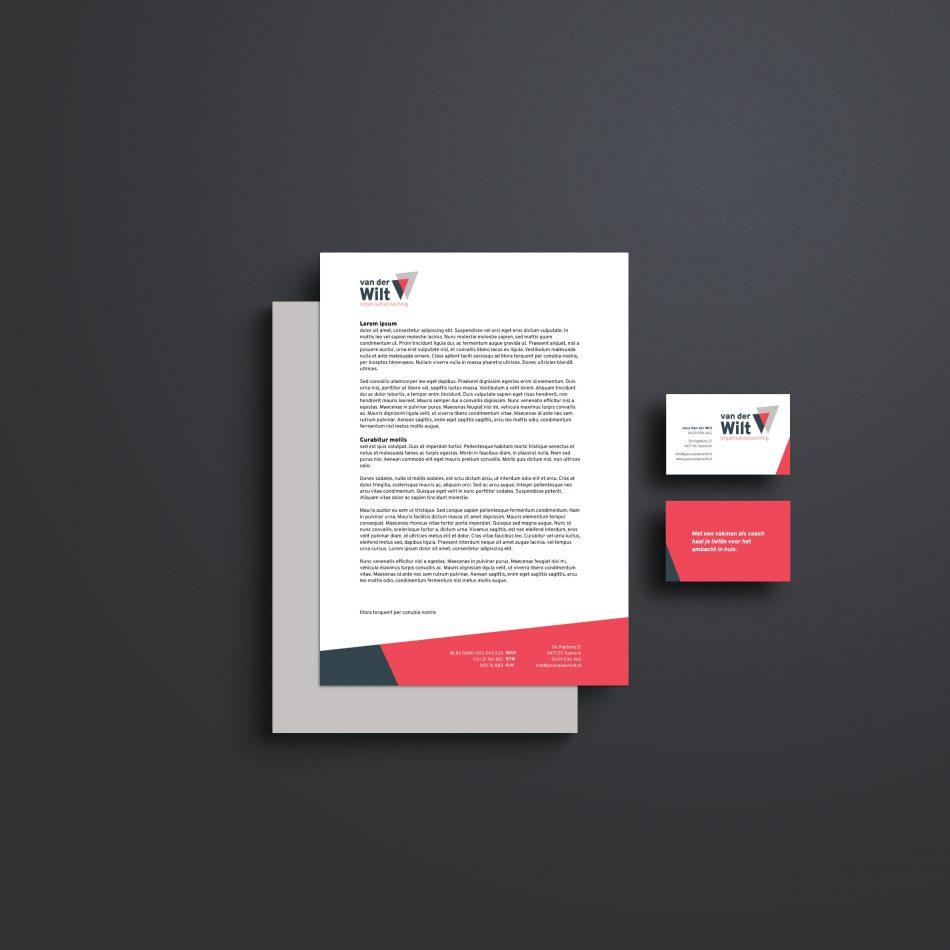 Briefpapier en visitekaartje voor Van der Wilt organisatiecoaching