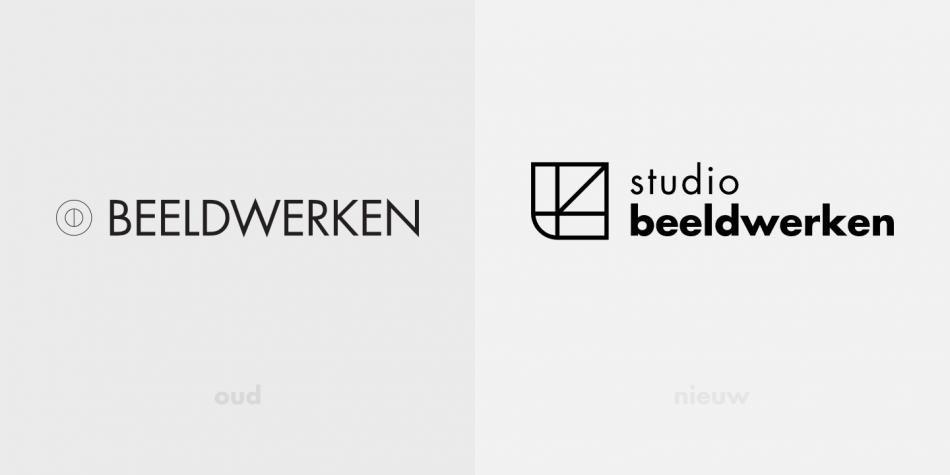 Het oude en nieuwe logo van studio beeldwerken naast elkaar