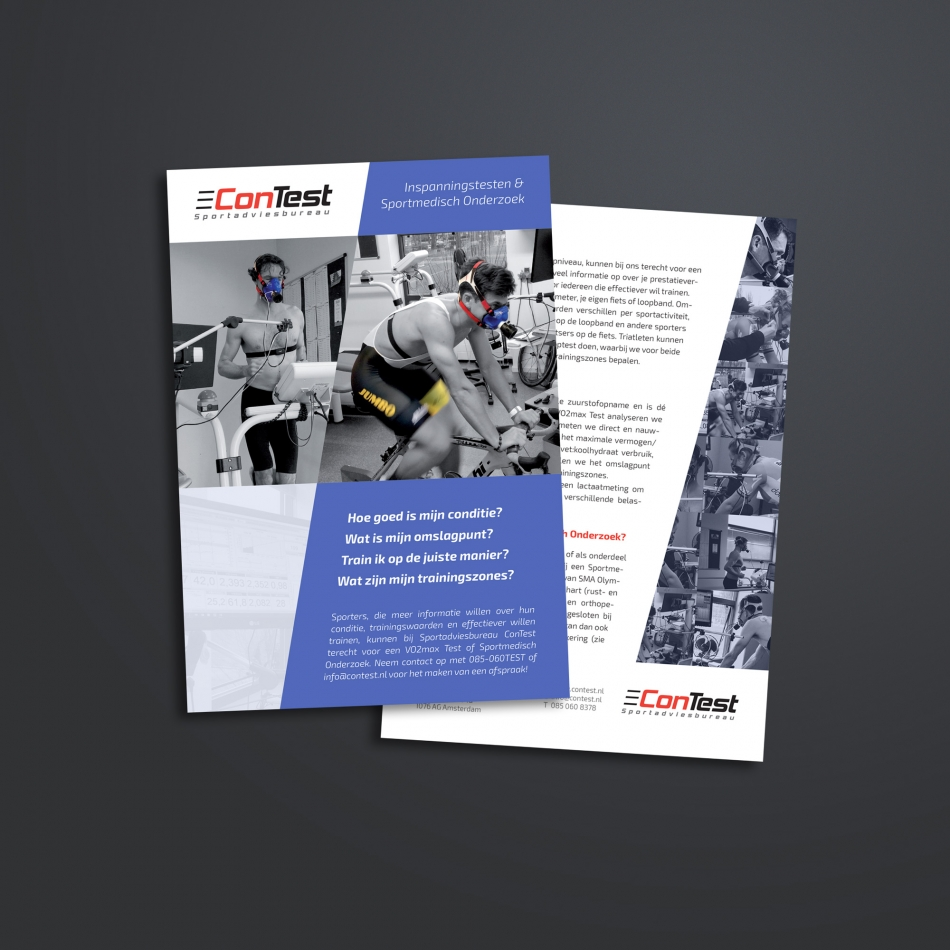 Ontwerp voor een flyer van Sportadviesbureau ConTest