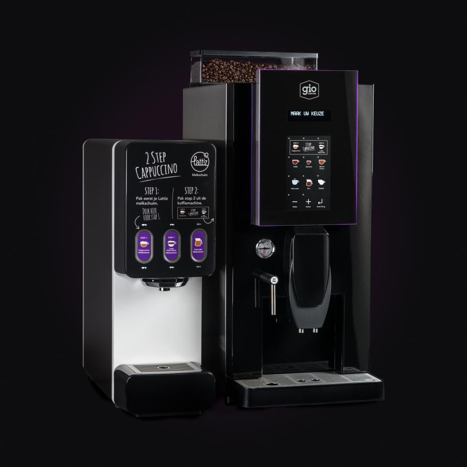 Productfotografie van een 2 step cappucino koffieautomaat