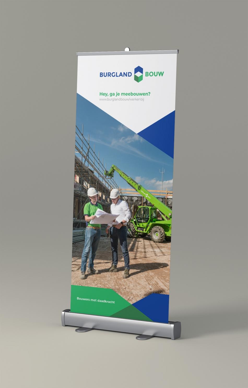 Ontwerp van een rollup banner voor personeelswerving door Burgland Bouw