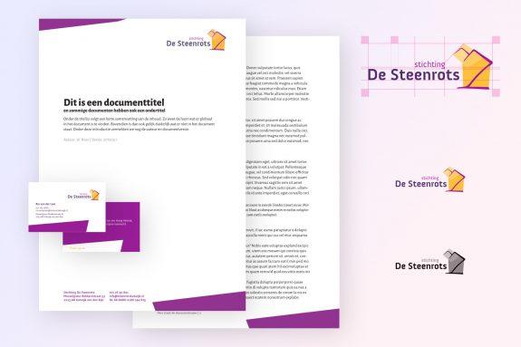 Het nieuwe logo en huisstijldocumenten van Stichting De Steenrots