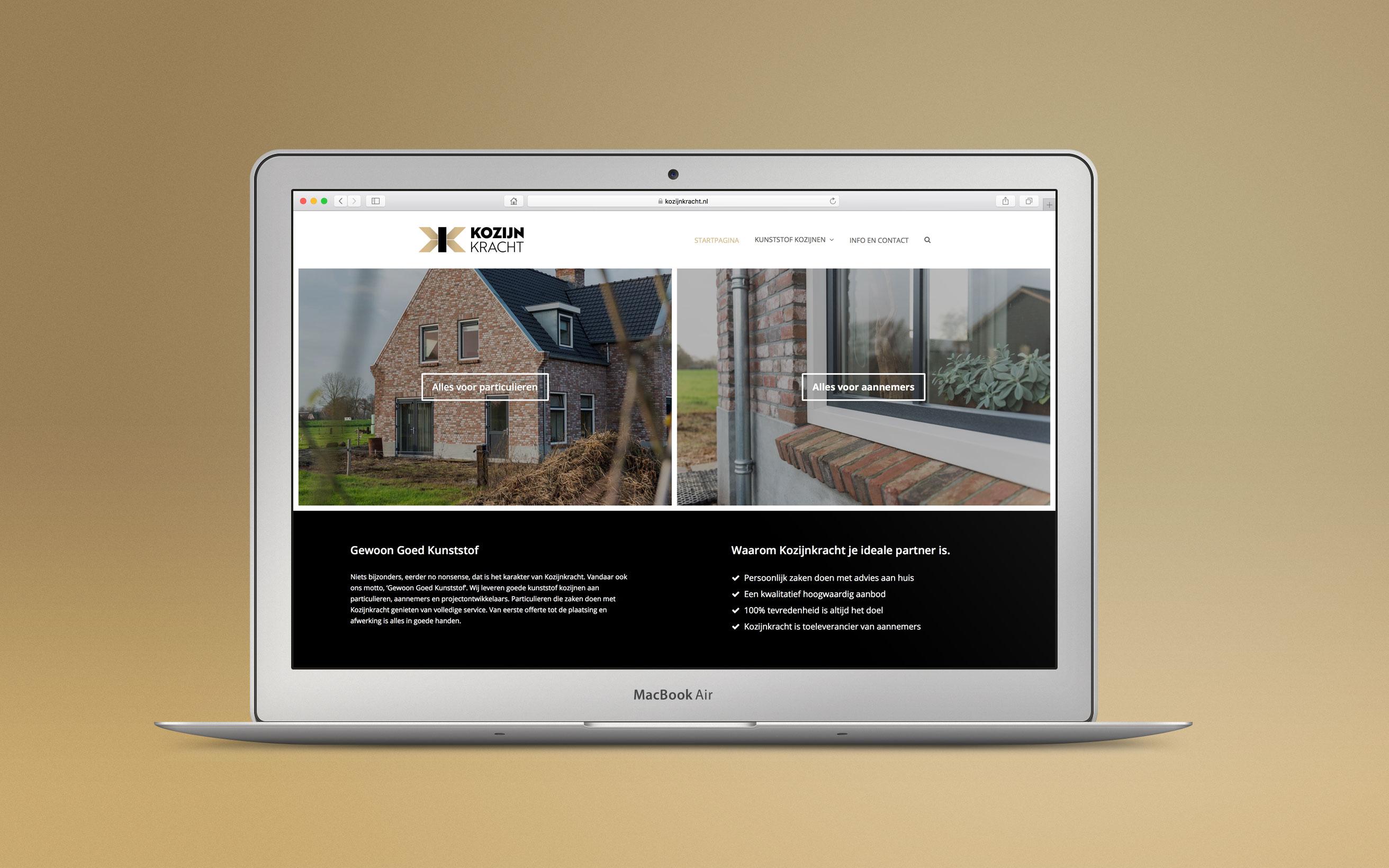 Screenshot van de website die is vormgegeven voor kozijnkracht