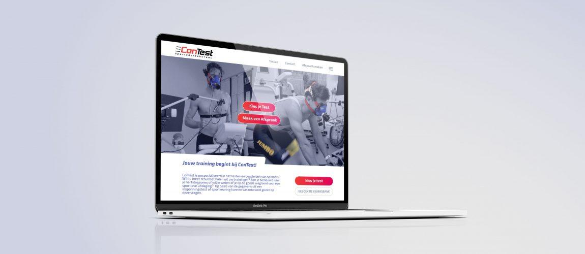 Mockup Van Een MacBook Met De Nieuwe Website Van ConTest