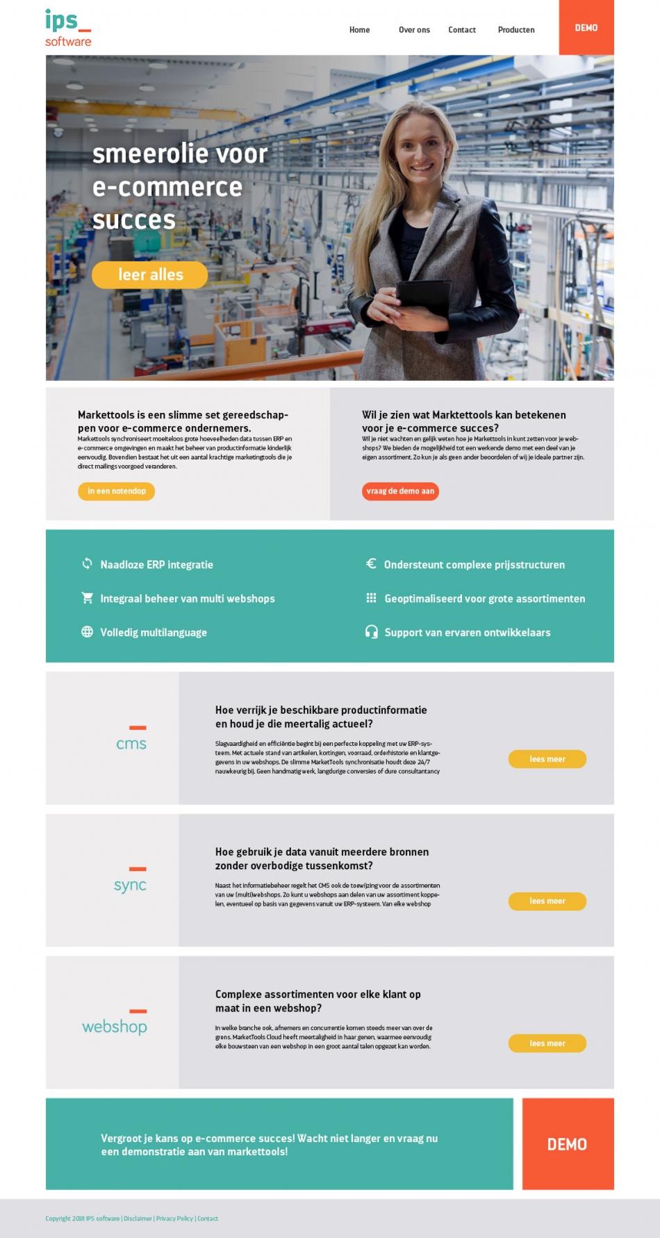 Het ontwerp voor de nieuwe startpagina van IPS software bv